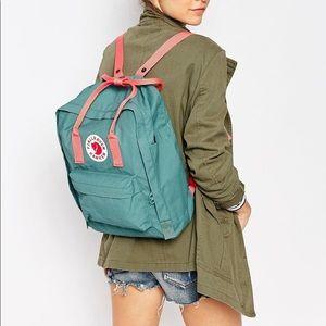 Fjallraven Kanken Backpack in Frost Green and Pink